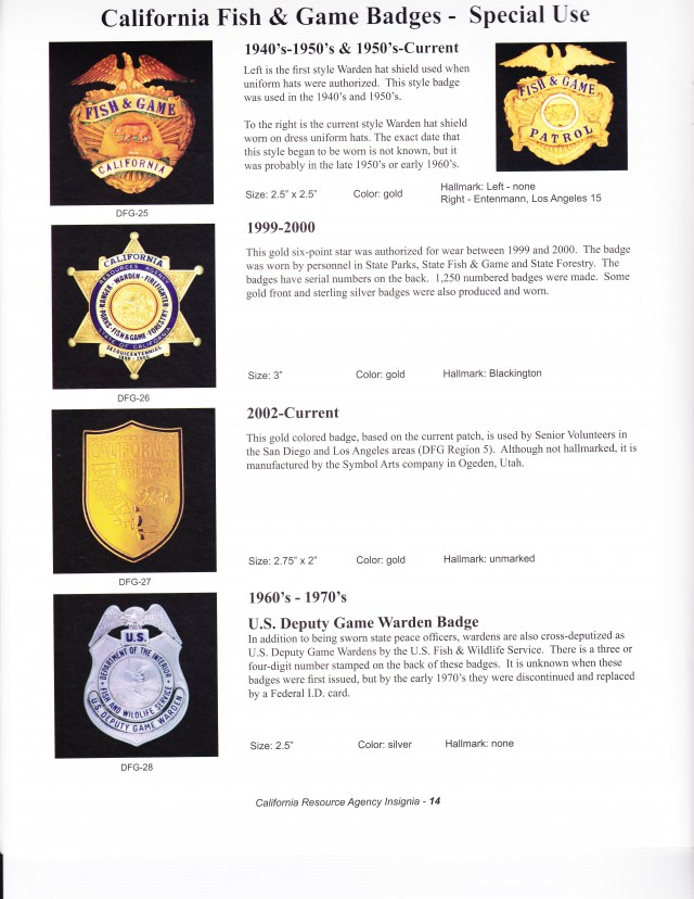 Warden badges retired california game warden for Ca game and fish